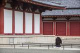 Monk at Shitenno-Ji Temple, Tennoji, Osaka, Kansai, Japan Photographic Print by Ian Trower
