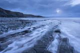 Stormy Evening at Kilve Beach on the Somerset Coast, Somerset, England. Winter (January) Photographic Print by Adam Burton