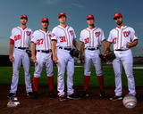 Gio Gonzalez, Jordan Zimmermann, Max Scherzer, Stephen Strasburg, and Doug Fister 2015 Action Photo