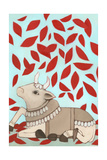 Nandi with Red Leaves, 2015 Giclee Print by Megan Moore