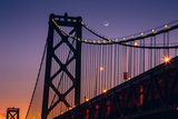 Bay Bridge Detail and Crescent Moon Photographic Print