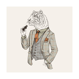 Tiger in Suit Giclee Print