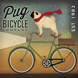 Pug on a Bike Print van Ryan Fowler