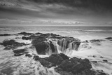 Scene at Thor's Well in Black and White, Oregon Coast Photographic Print