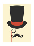 Hat Monocle and Moustache Giclee Print