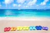 Color Flip Flops by the Ocean Photographic Print by  EllenSmile