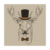 Deer with Hat Giclee Print