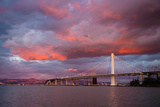 Fiery Clouds and Jet Plane at Bay Bridge, Oakland Photographic Print