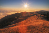 Sunscape Above the Fog at Mount Tamalpais Stampa fotografica