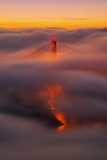 Ethereal Gold, Fog Covered Golden Gate Bridge, San Francisco Photographic Print