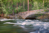 Flowing Merced River and Pohono Bridge, Yosemite Photographic Print