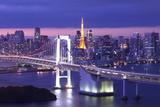 View of Tokyo Bay , Rainbow Bridge and Tokyo Tower Landmark Papier Photo par  Torsakarin