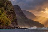 Sunset Beams at the Edge of Kauai, Hawaii Photographic Print