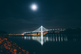 Eastern Span Bay Bridge Under Moonlight, Oakland Photographic Print