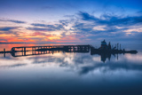 Old Tugboat and Pier at Sunset, San Pablo Bay Photographic Print