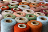 Collection of Natural Colored Vintage Thread Spools Photographic Print by Christin Lola
