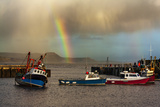 Rainbow over Fishing Boats at Lyme Regis Photographic Print by  allouphoto
