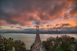 Stormy Sunset Sky at Bay Bridge, San Francisco Photographic Print