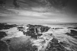 Seascape at Thor's Well in Black and White, Oregon Coast Photographic Print
