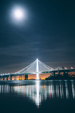 Oakland Bay Bridge and Moonlight Portrait Photographic Print
