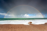 Big Colorful Rainbow over Ocean Photographic Print by Olha Rohulya