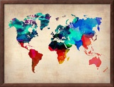 World Map in Watercolor Prints