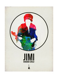 Jimi Watercolor Poster by David Brodsky