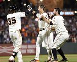 Apr 22, 2014, LA Dodgers vs San Francisco Giants - Brandon Crawford, Joe Panik, Brandon Belt Photo by Thearon W Henderson