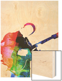 BB King Watercolor Wood Print by Lora Feldman