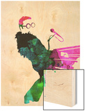 Elton Watercolor Wood Print by Lora Feldman