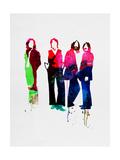 Beatles Watercolor Reproduction sur métal par Lora Feldman