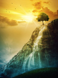 Waterfall Tree Photographic Print by  kevron2001