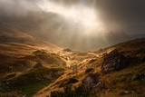 Dramatic Fogy Landscape with Sunbeams Photographic Print by  rasica