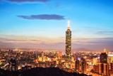 Taipei, Taiwan Evening Skyline. Photographic Print by  NicholasHan