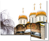 Domes of the Assumption Cathedral in Kremlin, Moscow, Russia Posters by Nadia Isakova