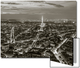 Dusk View over Eiffel Tower and Paris, France Art by Peter Adams