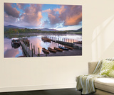 Boats on Derwent Water at Sunrise, Keswick, Lake District, Cumbria, England. Autumn (October) Wall Mural by Adam Burton
