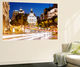 Spain, Madrid. Street View with Metropolis Building and Light Trails Wall Mural by Matteo Colombo