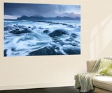 Waves Crash Against the Black Basalt Rocky Shores of Gjogv, Eysturoy, Faroe Islands, Europe Wall Mural by Adam Burton