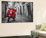 Italy, Lazio, Rome, Trastevere, Red Vespa Art Mural par Jane Sweeney