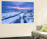 Sunrise Above a Snow Covered Moorland, Belstone Tor, Dartmoor National Park, Devon, England. Winter Wall Mural by Adam Burton