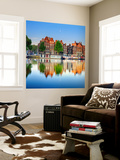 Netherlands, North Holland, Amsterdam. Typical Houses and Houseboats on Amstel River Wall Mural by Francesco Iacobelli