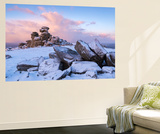 Sunrise Above Covered Rocks at Great Staple Tor, Dartmoor, Devon, England. Winter Wall Mural by Adam Burton