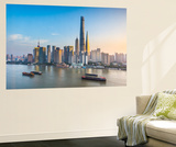 Shanghai Tower and the Pudong Skyline across the Huangpu River, Shanghai, China Wall Mural by Jon Arnold
