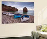Boats Pulled Up on the Shingle at Ladram Bay on the Jurassic Coast, Devon, England Wall Mural by Adam Burton