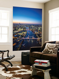 Night Aerial View of the Shard, River Thames, Tower Bridge and City of London, London, England Wall Mural by Jon Arnold