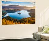 Lake Bled and the Julian Alps Illuminated at Sunrise, Lake Bled, Bled, Upper Carniola, Slovenia Wall Mural by Doug Pearson