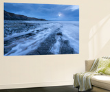 Stormy Evening at Kilve Beach on the Somerset Coast, Somerset, England. Winter (January) Wall Mural by Adam Burton