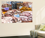 France, Provence Alps Cote D'Azur, Haute Provence, Forcalquier. Salami for Sale at Local Market Wall Mural by Matteo Colombo