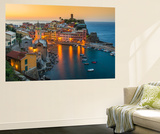 Top View at Sunrise of the Picturesque Sea Village of Vernazza, Cinque Terre, Liguria, Italy Wall Mural by Stefano Politi Markovina